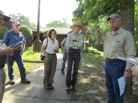 US Forest Service Ranger Rusty Plair explaining to HNPAT visitors about restoring prairies in the Sam Houston National Forest.