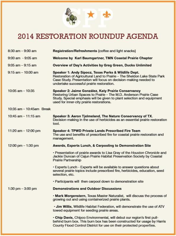 2014 Restoration Roundup Agenda