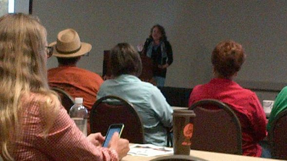 Lisa Gray accepting the Dick Benoit Upper Gulf Coast Award. Restoration Roundup in Rosenbergy, 10/16/14.