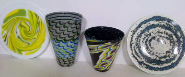 Thanks Cheryl, for donation of Hand-made Glass Vases and Plates